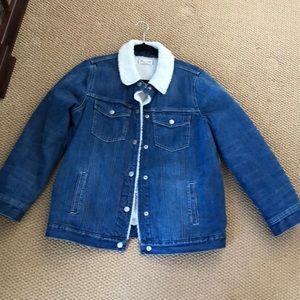 Insulated denim fur trim jacket